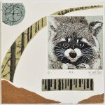 Faune et forêt 2,chine-collé, sérigraphie, 17,5 x 17,5 cm