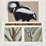 Faune et forêt 3, chine-collé, sérigraphie, 17,5 x 17,5 cm