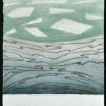 Boréalis, collagraphy, chine colle, 90 x 37,5 cm
