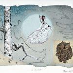 En attendant, collagraphie, chine-collé, sérigraphie 27,5 x 37,5 cm