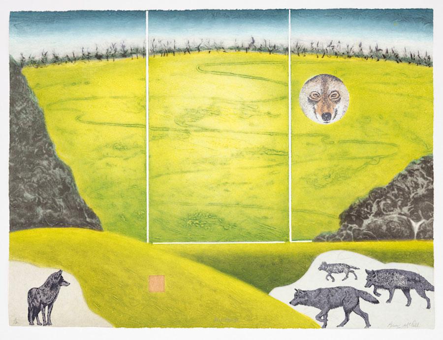 Persistance, collagraphie, chine-collé, sérigraphie 56 x 71 cm